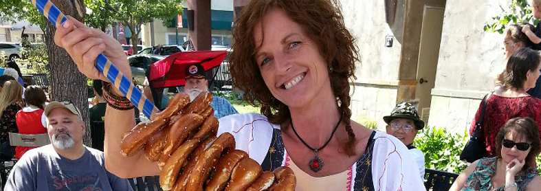 A pretzel vendor looks for customers in Town Square during Oktoberfest in Vacaville.